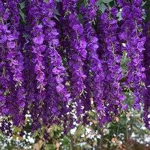 Luyue 12 sztuk sztuczne kwiaty glicynii winorośli 97cm dekoracje ślubne girlanda z kwiatów jedwabiu kwiaty ozdobne domu sztuczny kwiat winorośli