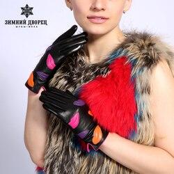 Зимние неподдельные кожаные перчатки для женщин Черная перчатка из козьей шкуры 2017 Новые теплые варежки прибытия Зимний Дворец Новый Highqualit