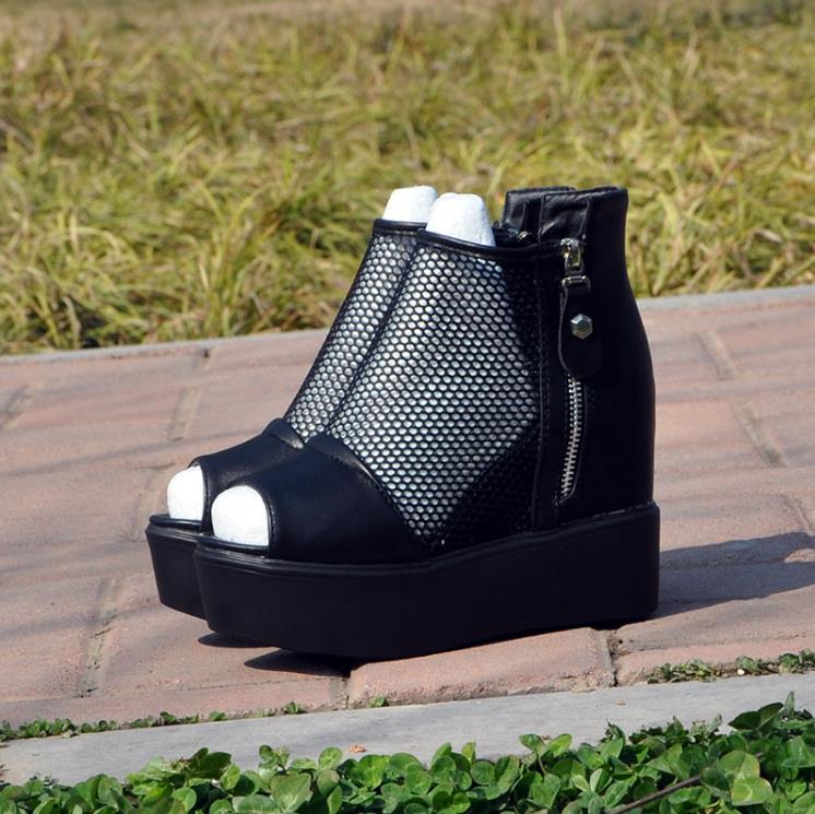 Et Avec Hauts Pente Sif Talons Européen Sandales 2018 Nouveau Muffin Maille Noir Femmes Épais Fond Augmenté Américain À Printemps D'été gbY6yvf7