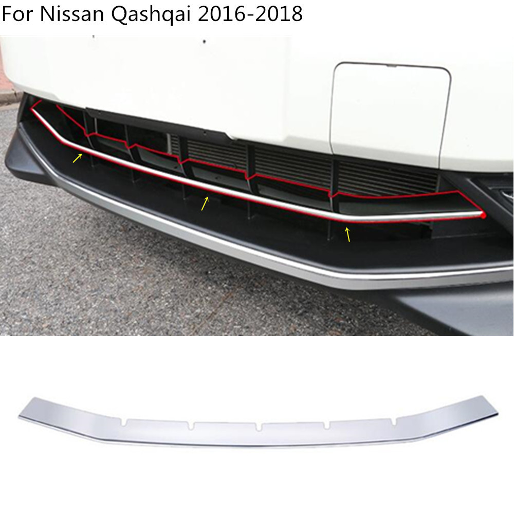 car styling cover protection detector ABS Chrome trim Front bottom Grid Grill Grille Around For Nissan Qashqai 2016 2017 2018 car panel body cover protection trim front up grid grill grill racing 1pcs for nissan march 2011 2012 2013 2014 2015 2016 2017