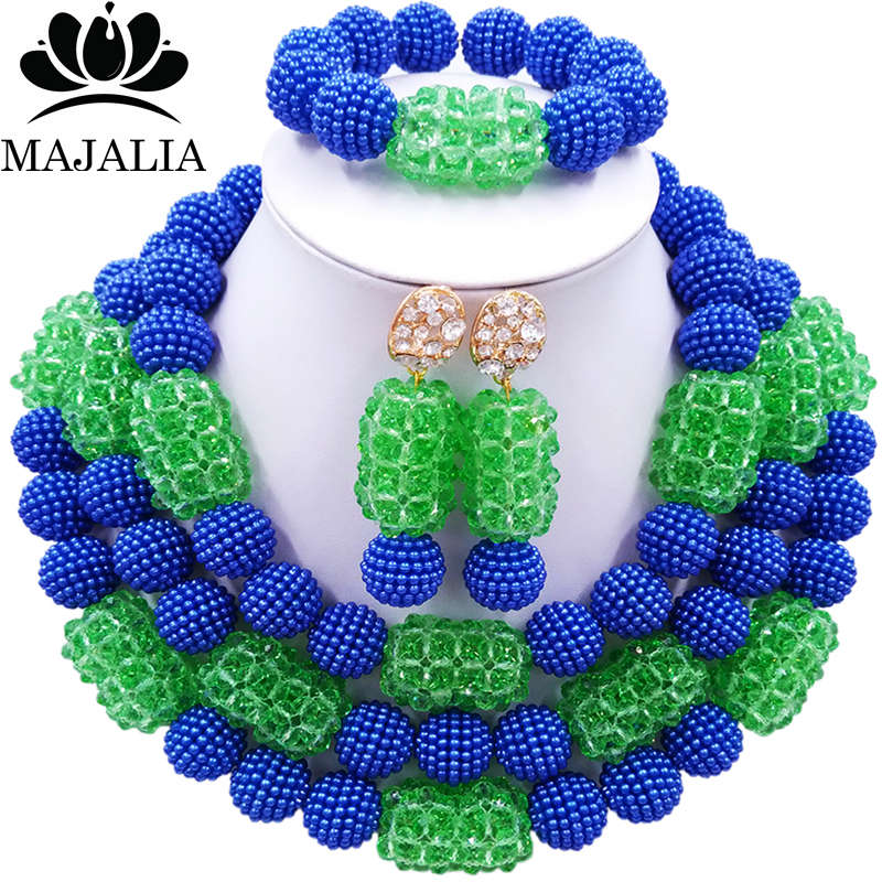 Majalia Mode Femmes bleu et vert Africain Costume Jewelry Set Mariage Nigériane Perles Africaines Bijoux Ensemble CX-016
