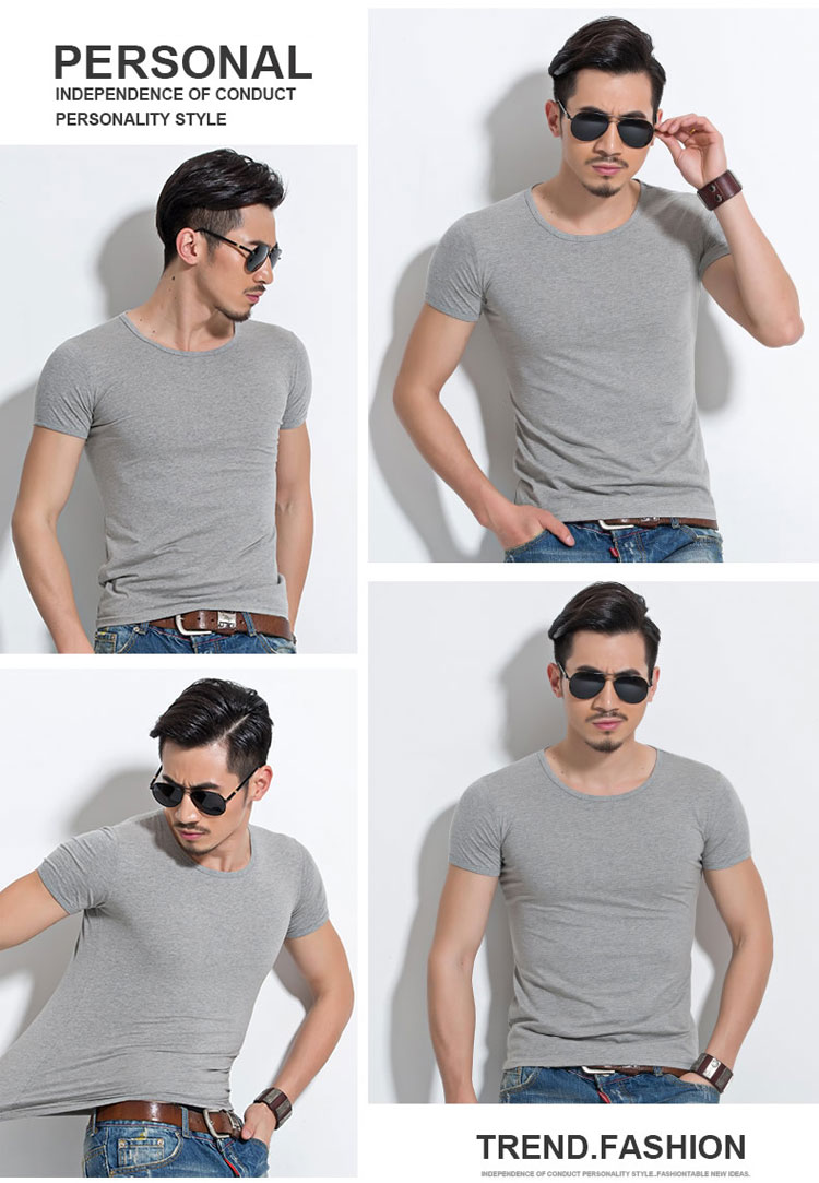 HTB1AmQcSpXXXXbLXXXXq6xXFXXXV - Lycra Men'S T Shirt Short Sleeve T-Shirt O-Neck Slim Solid Color Half Sleeved Tee Shirt MRMT