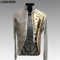 Silvery Sequins Male Jacket Gold Mirror Slim Coat Nightclub Rock Punk Men's Singer Stage Costume Tide Dancer DJ DS Dance Outfit