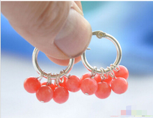 Free shipping S1580 6mm natural pink coral round dangle earring 925silver