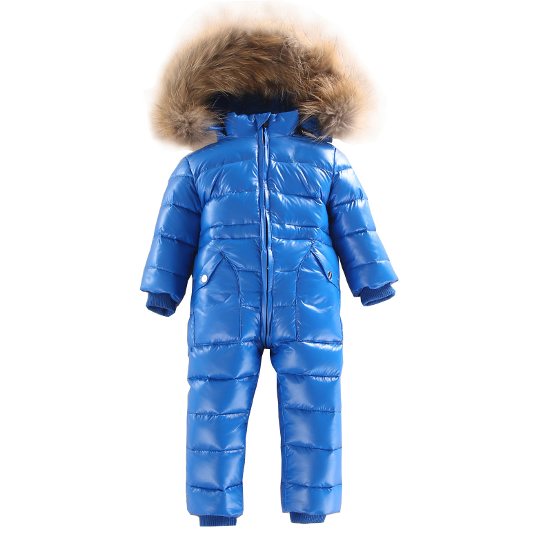 Russian Winter 2~5 Years  Baby Down Rompers with Real Fur Hood Outdoor  child Skit Snowsuit  Girls clothing Infant Boy Romper new winter baby hat real fur pom pom knitted toddler kid thick warm double raccoon fur balls beanies boys girls bonnet gorros f3