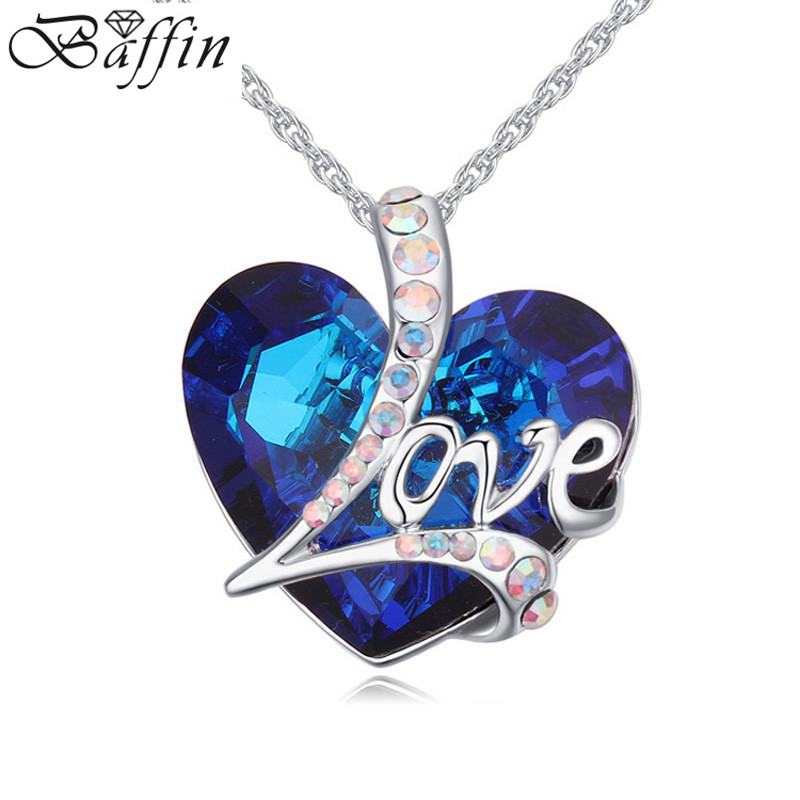 2016 new Trendy Fashion Crystal From Swarovski Heart Shaped pendent Necklace Elegant Jewelry For Women Party Lovers Gifts