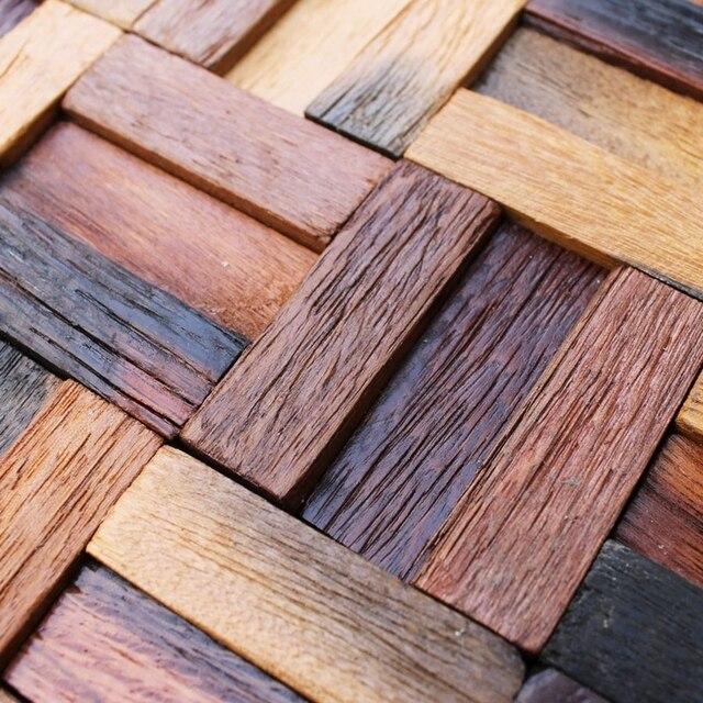 Natürliche Holz Backsplash Holz Fliesen Wand Dekor Streifen Muster Alte  Schiff Holz Mosaik Fliesen Bar