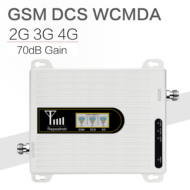 Walokcon GSM DCS WCDMA 900+1800+2100 Tri Band Mobile Signal Booster 2G 3G 4G LTE Cellular Repeater GSM 3G 4G Cell Phone Booster