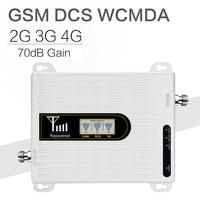 Walokcon gsm dcs wcdma 900 + 1800 + 2100 tri banda impulsionador de sinal móvel 2g 3g 4g lte repetidor celular gsm 3g 4g celular impulsionador