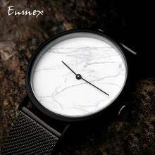 2019 Enmex creative  wristwatch Ultrathin case Marble face casual Stainless steel fashion Stylish clock quartz watch