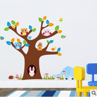 Tree And rabbit elephant owls wall sticker children room wall decals DIY Nursery hoom decoration Baby Room Decor 1022