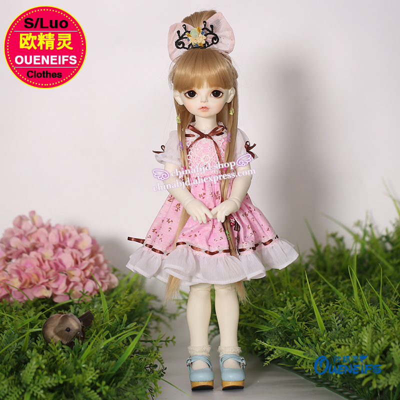 OUENEIFS free shipping 1/4 bjd sd doll clothes white collocation pink ,Little fresh ,Floral Dress,Rosenlied series bodyYF4 to 34