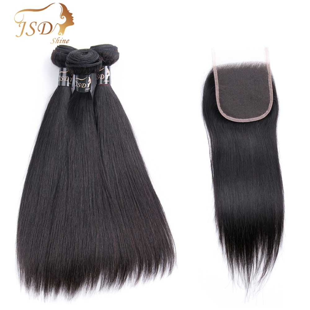 JSDshine Hair Human Hair Burmese Straight Bundles With Closure Hair Extension 3 Bundles Human Hair With 4*4Lace Closure Non-Remy ...