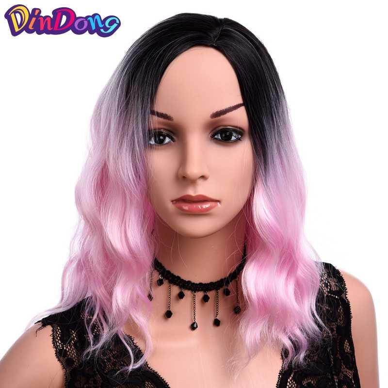 DinDong короткий парик кудрявый Омбре розовые красные голубые парики для женщин 14 дюймов Синтетические волосы высокотемпературное волокно