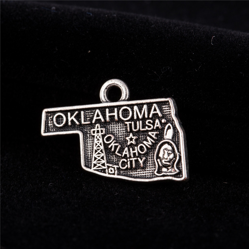 my shape 60pcs Antique Silver Plated Vintage Style Oklahoma Charm State Map Alloy Metal DIY Jewelry Making
