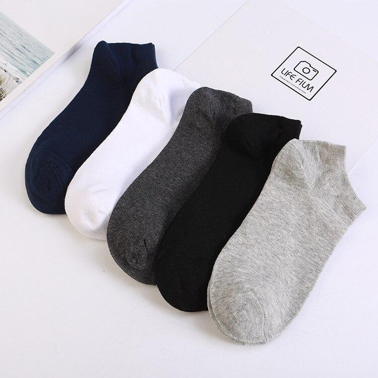 Men's Solid Color Cotton Boat Socks Flat Short Tube Men's Socks Low Cut Comb Cotton Deodorant Socks