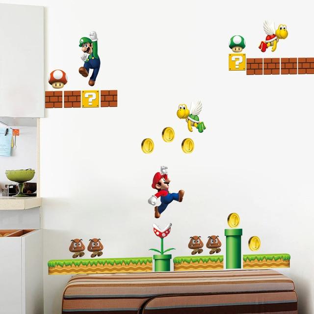 Jeu Classique Super Mario Stickers Muraux Pour Enfants Chambre Decor