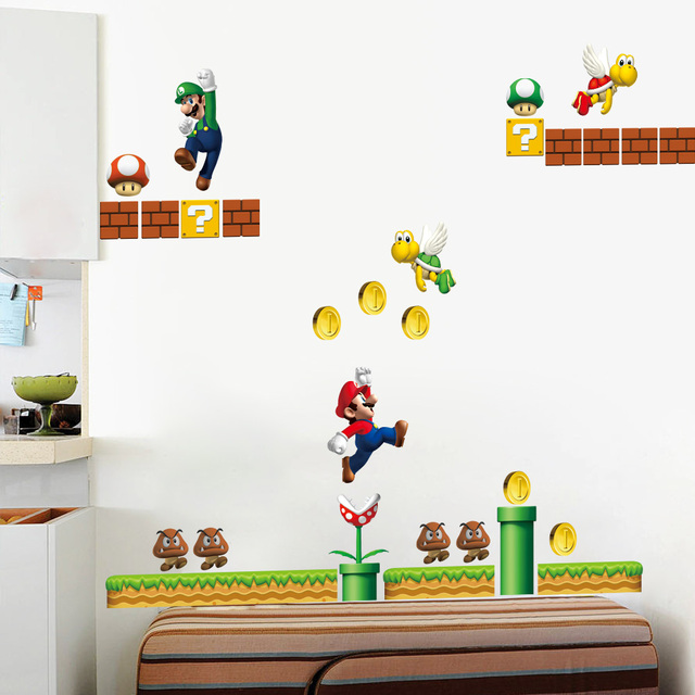 Awesome Classical Game Super Mario Wall Stickers For Kids Room Home Decor  Zooyoo1444 Cartoon Mural Art Playroom Part 22