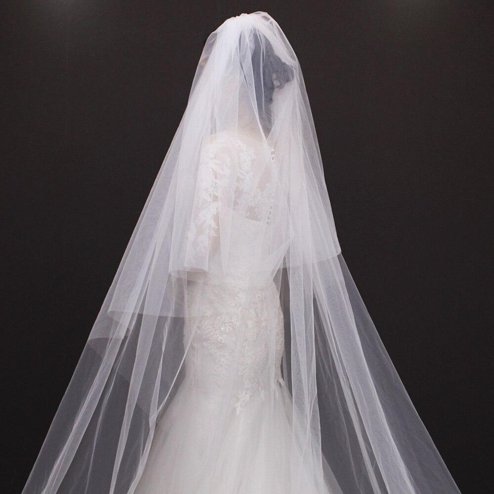 2cff64f406 2017 Champagne velo de novia con apliques una capa tulle 1.5 metros nueva  llegada simple vestidos