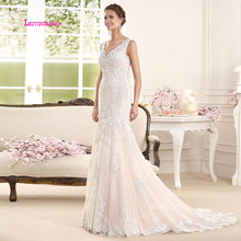 LEIYINXIANG Popular Mermaid Boho Wedding Dress 2019 V Neck Appliques Lace Sexy Gowns Backless Bride vestido novia