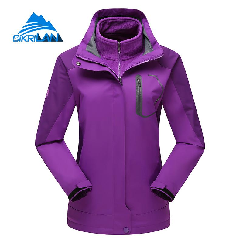 New 3in1 Outdoor Winter Windproof Waterproof Jacket Women Hiking Camping Ski Snowboard Coat Chaquetas Mujer With Fleece Liner 3 in 1 outdoor jacket windproof waterproof coat women sport jackets hiking camping winter thermal fleece jacket ski clothing