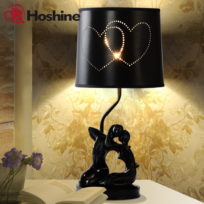 Hoshine Brand High Quanlity Hand Painted Resin Lovers Table Lamp Modern Lamp Abajur Table Lights  for Living Room Black Hearts high quanlity bitter melon extract charantin 10
