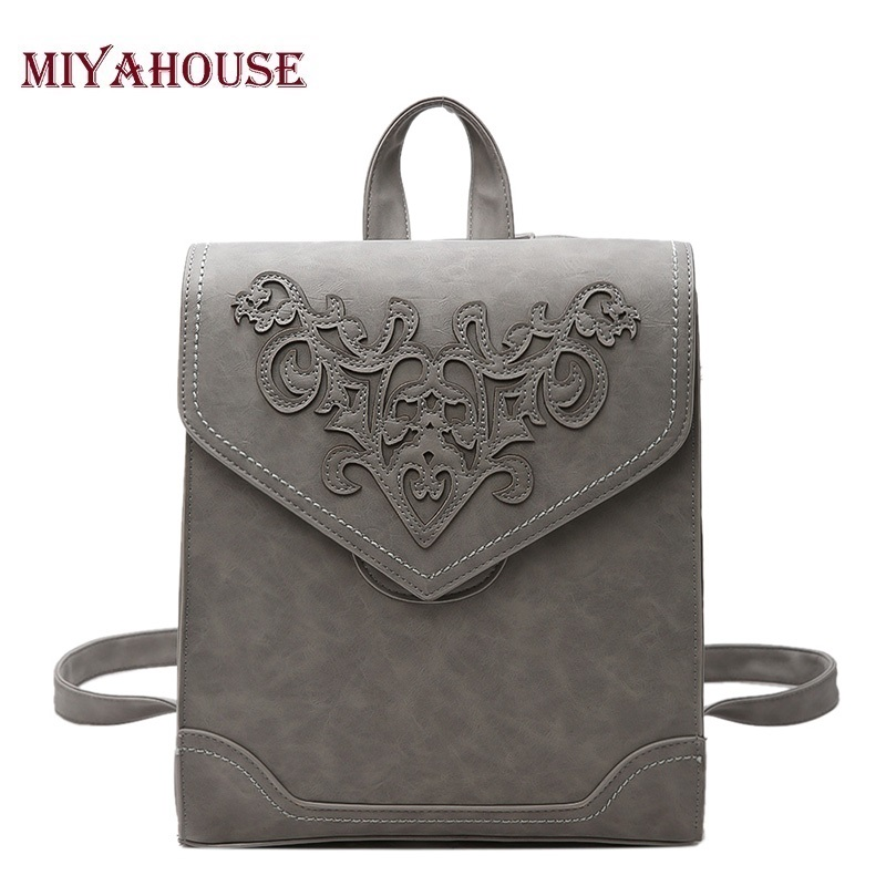 Miyahouse Women Backpack PU Leather Backpack Female School Backpacks For Teenage Girls Shoulder Bags College Student Casual Bag футболка breathe out rose t shirt черный l