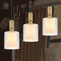 European Copper Pendant Light Transparency Glass LampShade E27 Socket Luxury Ceiling Lamp Restaurant Bedroom Decorate Lighting