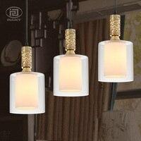 European Copper Pendant Light Transparency Glass LampShade E27 Socket Luxury Ceiling Lamp Restaurant Bedroom Decorate Lighting