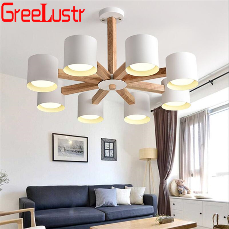 Nordic Wooden Led  Chandelier Lamps E27 Iron Lampshade Hanging Lights Fixtures For Bedroom Kitchen Wood Lustres Indoor LightingNordic Wooden Led  Chandelier Lamps E27 Iron Lampshade Hanging Lights Fixtures For Bedroom Kitchen Wood Lustres Indoor Lighting