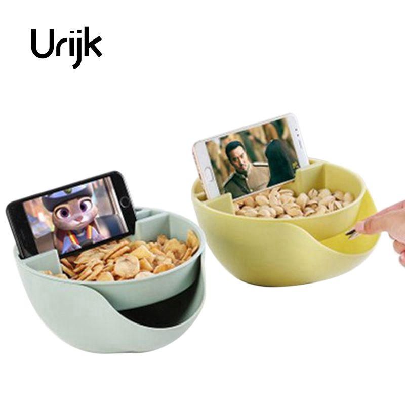 Urijk Storage Box Plate Dish Tray With Mobile Phone Stents New Melon Seeds Nut Bowl Table Candy Snacks Furit Holder Storage Bins