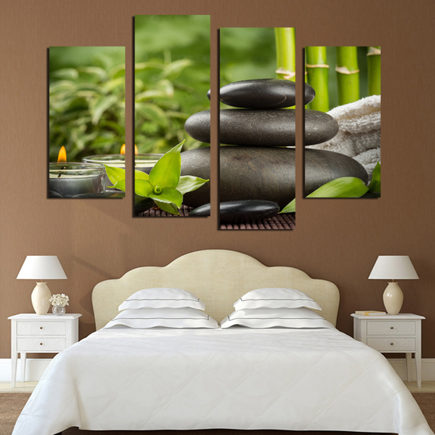 unframed 4 piece bamboo stone scenery modern home wall decor canvas picture art hd print painting on canvas for spa decor - Spa Decor