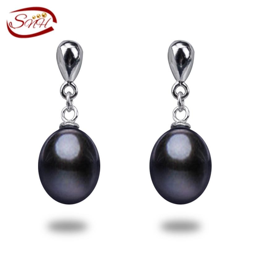29aef89c3fd5 100% pendientes de perlas de agua dulce genuino 100% 925 plata esterlina  para las mujeres pendientes de la manera con el regalo