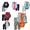 2017 детская одежда пальто + комбинезон + брюки 3 шт. набор мальчик девочка Флис и хлопок костюм bebes meninos весна осень детская одежда