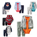 2017 baby clothing coat+bodysuit+pant 3 piece set baby boy girl Fleece and cotton suit bebes meninos spring autumn kids clothes
