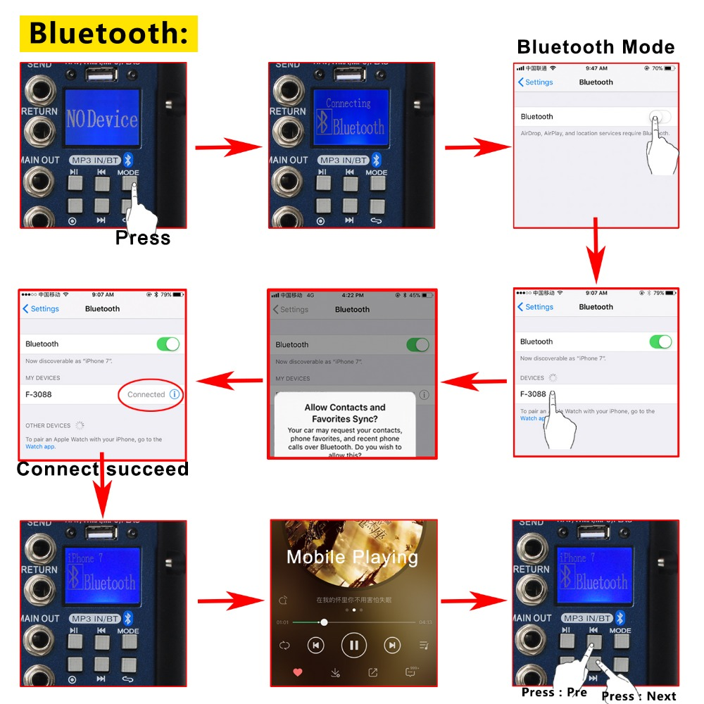Freeboss SMR8 Bluetooth USB Record 8 Kanal (4 Mono + 2 Stereo) 16 DSP - Evdə audio və video - Fotoqrafiya 3