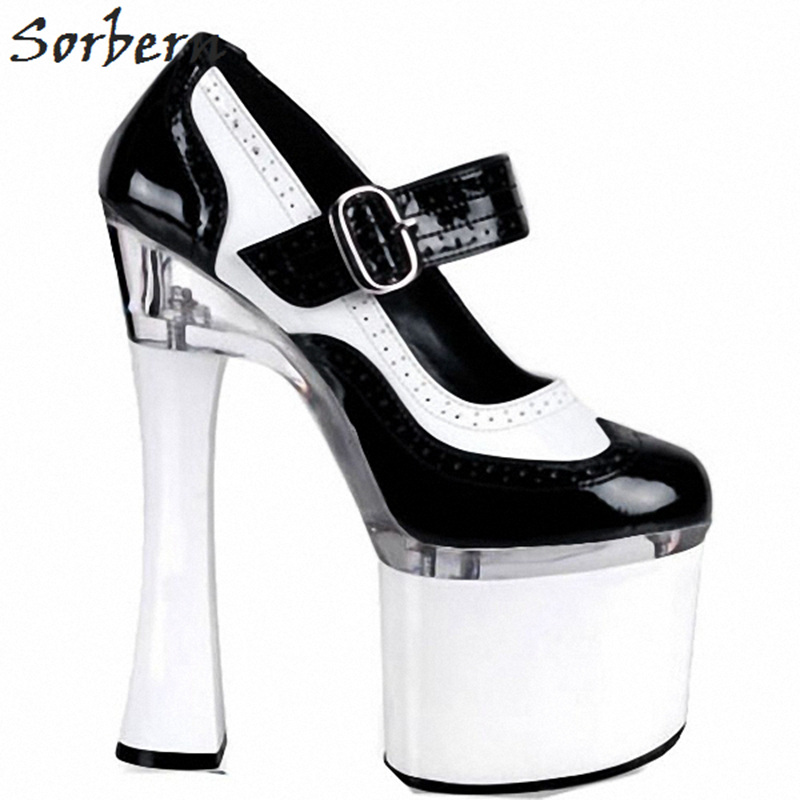 Sorbern 18Cm Square High Heels Woman Shoes Pumps Mary Janes Round Toe 8Cm Platform Chunky Heeled Ladies Pump Shoes 2018 New цена