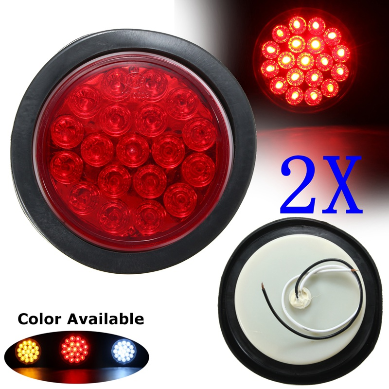 Red Yellow White 19 SMD Car Round Tail Lights Turn Singal Light ATV LED Reflectors Truck Side Marke Indicator Warning Lights