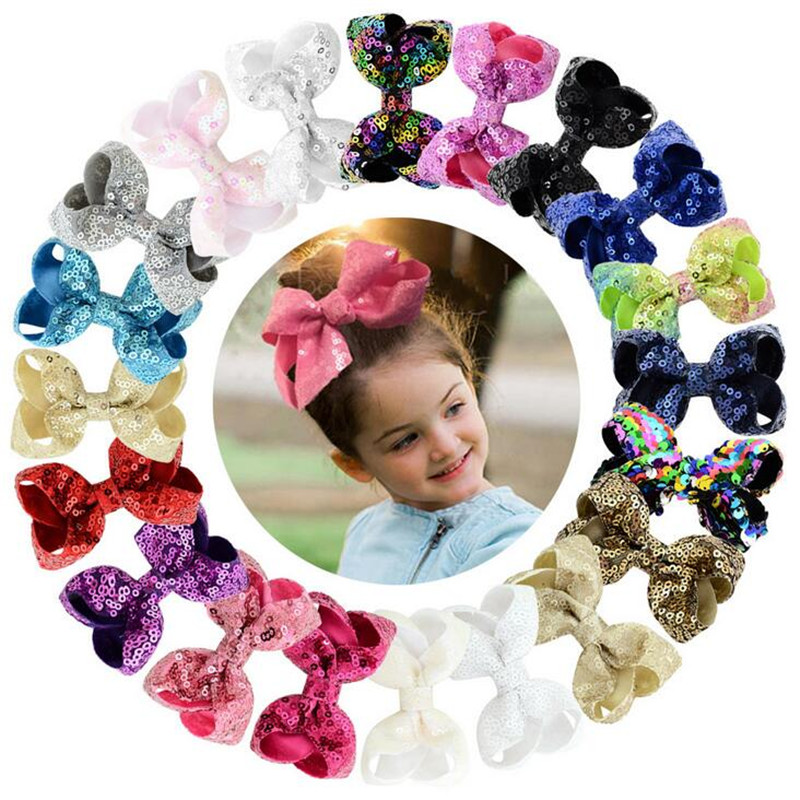 2018 Hot Sale Children Girls Shiny Sequins Bow Grosgrain Ribbon Hair Accessories Exquisite Alligator Kids Hair Clips Dropshiping