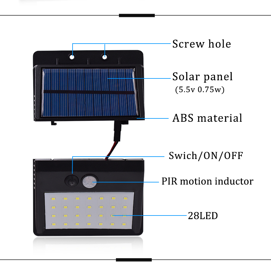 Luz LED exterior con panel solar y sensor de movimiento