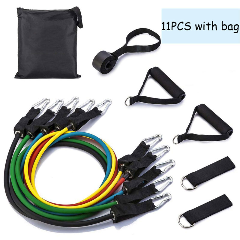 11 PCS/set Pull Rope Fitness Exercises Resistance Bands  Latex Tubes Pedal Exercise Body Training Workout Yoga