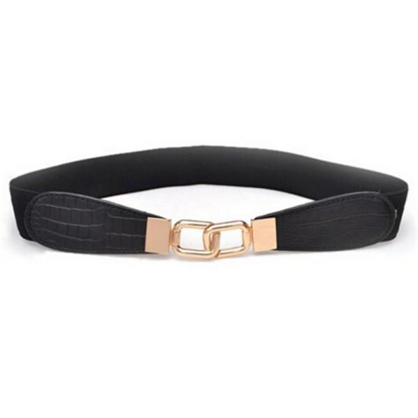 2015 Special Offer New Solid Women Corset Wide Belt Womens Metal Buckle Elastic Stretch Waist Pu Leather Fashion Belt Waistband