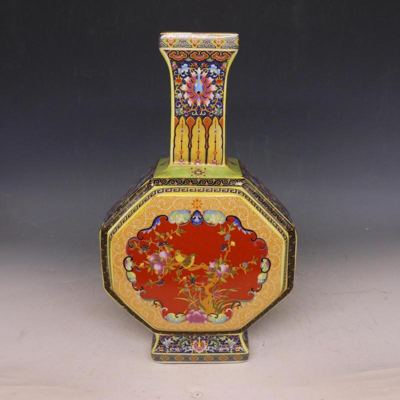 Jingdezhen Antico Smalto Vaso Grande Pancia Vasi di Fiori E Uccelli Modello Antico Ming e Qing PorcellanaJingdezhen Antico Smalto Vaso Grande Pancia Vasi di Fiori E Uccelli Modello Antico Ming e Qing Porcellana