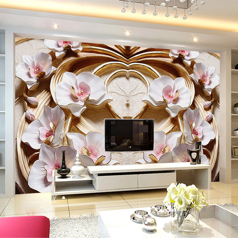 Custom Mural Wallpaper 3D Stereo Relief Flowers Fresco Living Room TV Sofa Background Wall Papers For Walls 3 D Papel De Parede custom 3d wallpaper mural chinese style flower and bird wallpaper restaurant living room bedroom sofa tv wall papel de parede