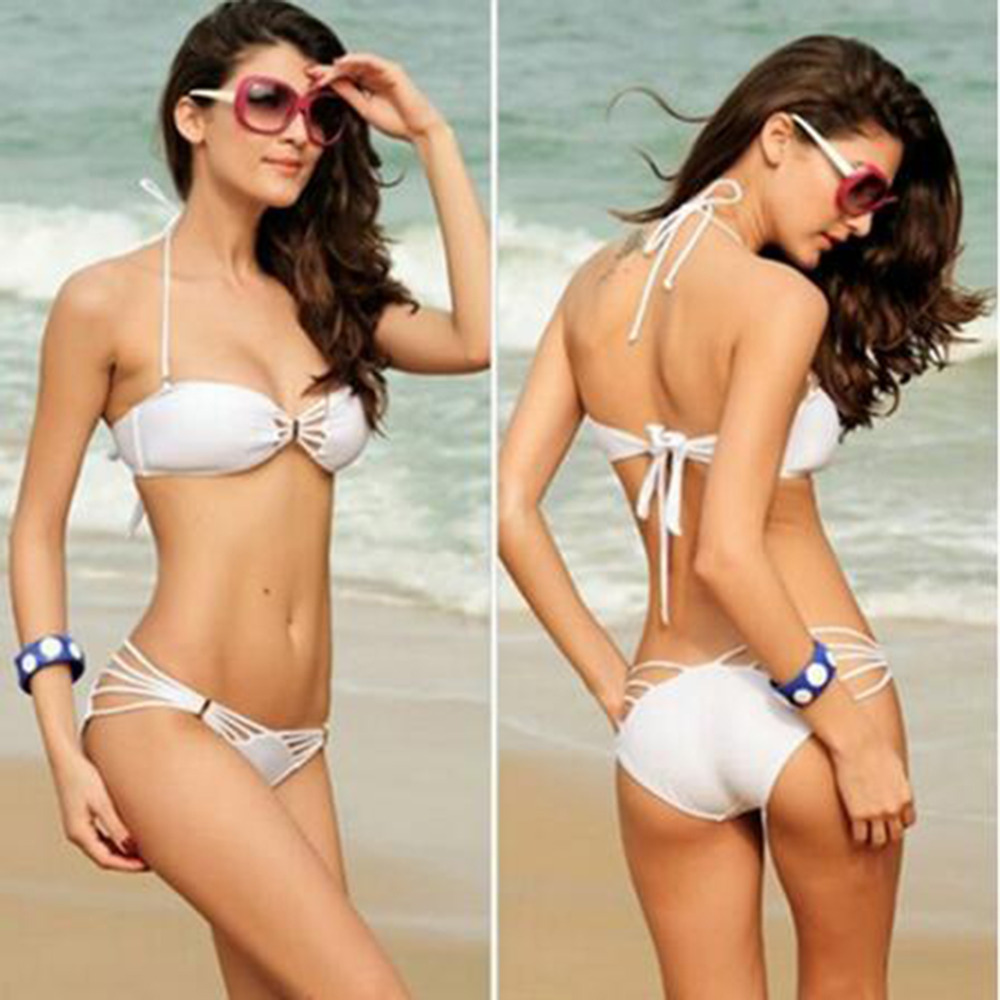 Sexy Women Bikini Set Female Lady Solid Color Bandage Halter Swimsuit Swimwear Summer Beach Bathing Suits New Arrival 2017 summer bikini suit fitness body wading sports swimsuit lady brand straight solid color tight swimsuit 40