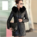 2016 fashion long section of large size women's pu leather padded plus thick cotton hooded long coat