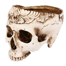 Skull Ashtray Resin Unique Spooky Smoking Room Accessories Halloween Decors Flower Pot Bar Decors for Haunted House(China)