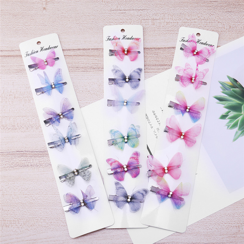 6 pieces / 1 set of butterfly hairpin combination sweet lady girl word clip side gift hair accessories headdress
