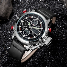 Oulm Quartz Sport Watches Men Luxury Analog Digital Dual Display Watch Male Clock Genuine Leather LED Waterproof Wristwatch Man