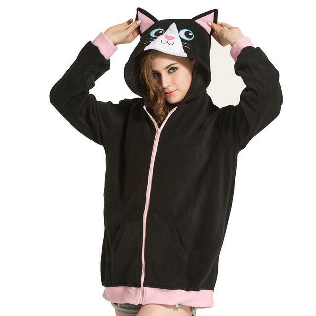 Women Costume Hoodies Cute Black Cat Cartoon Animal Flannel Zipper Jackets Outwear Top